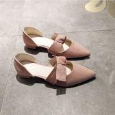 售完即止-春夏尖頭單鞋女粗跟低跟中空涼鞋淺口甜美繫蝴蝶結一字扣帶裸粉色庫存清出(5-8S)
