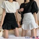熱賣半身魚尾裙 魚尾裙半身裙女春季2021新款高腰A字短裙褶皺包臀荷葉邊白色裙子 coco