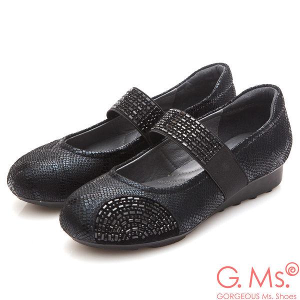G.Ms. 燙鑽坡跟系列-蛇紋羊皮瑪莉珍A款*黑色
