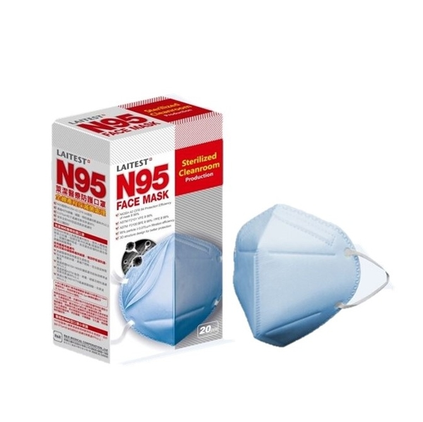 萊潔 N95醫療防護口罩 海洋藍 20入【躍獅】
