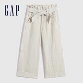 Gap女童 亞麻混紡腰帶休閒寬褲 685454-灰色條紋