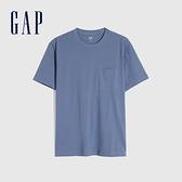 Gap男裝 純棉素色圓領短袖T恤 690357-灰藍色
