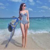 性感修身連體游泳衣女遮肚顯瘦大小胸聚攏比基尼保守溫泉  非凡小鋪
