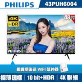 [送WIFI延伸器]PHILIPS飛利浦 43吋4K HDR纖薄聯網液晶+視訊盒43PUH6004