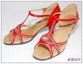 節奏皮件~國標舞鞋拉丁鞋款編號6251 緞面鑲鑽舞鞋紅緞