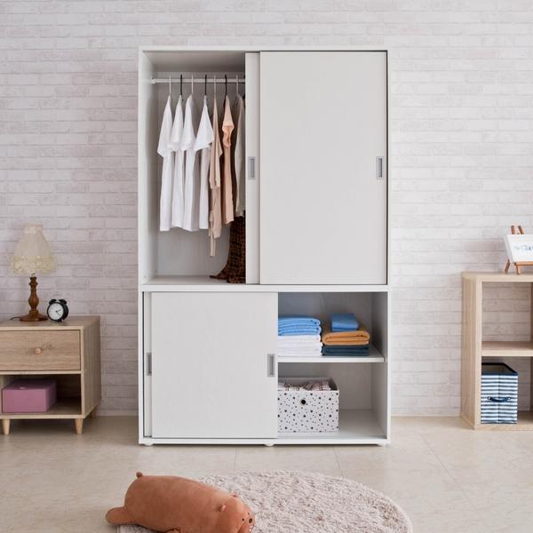 衣櫃 衣櫥 收納【收納屋】米特大容量推門衣櫃-白色&DIY組合傢俱