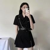 洋裝 女短袖雙排扣裙子西裝裙工裝風收腰潮(中秋禮物)
