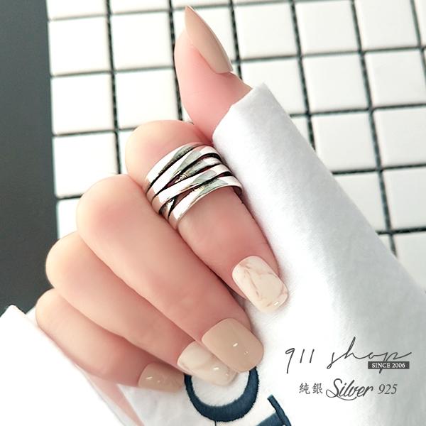 Lacuna.925純銀純銀寬版弧度龐克多層次開口戒指【sa165】911 SHOP