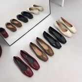 復古果凍小單鞋女春秋新款韓版時尚簡約方頭淺口平底鞋子防水防滑DSHY