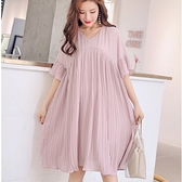 漂亮小媽咪 韓國洋裝 【D8883】 傘狀 喇叭袖 雪紡裙 短袖 連身裙 孕婦裝洋裝 百褶裙 雪紡洋裝