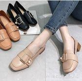 方頭鞋奶奶鞋女春季韓版百搭學生粗跟中跟小皮鞋網紅單鞋子 科炫數位