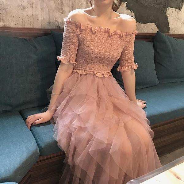 一字領洋裝 2020新款連身裙超仙甜美網紗拼接蛋糕裙