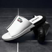 夏季白色拖鞋男學生一字拖時尚外穿潮拖韓版 ☸mousika