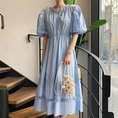 韓系洋裝 襯衫洋裝 韓版泡泡袖收腰優雅蕾絲拼接連身裙N515-D.2535 依品國際