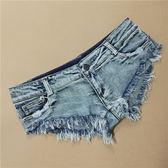 新款性感低腰短褲潮流女齊B褲牛仔毛邊顯瘦緊身熱褲【販衣小築】