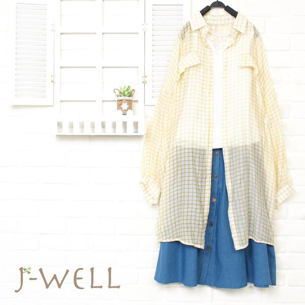 J-WELL 薄透感格紋長上衣背心牛仔裙三件組(組合A136 8P8308黃格+8W1139白+8J1521中藍)