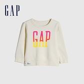 Gap女幼童 碳素軟磨系列 Logo刷毛圓領休閒上衣 656445-象牙白