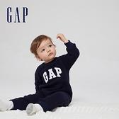 Gap嬰兒 Logo仿羊羔絨長袖包屁衣 665534-海軍藍