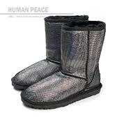 雪靴 舒適 柔軟 秋冬 刷毛 保暖 中統雪靴 戶外休閒鞋 銀/黑色 女鞋 no018