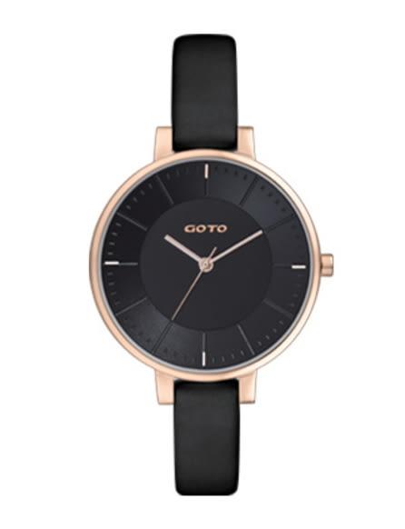 【時間道】[GOTO。錶]簡約有秒針時尚腕錶/黑面玫瑰金殼黑皮(GL1040L-43-341)免運費