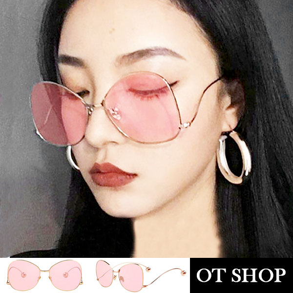OT SHOP太陽眼鏡‧歐美時尚配件金屬蝴蝶框海洋鏡片抗UV400墨鏡‧海洋粉片‧現貨NW22