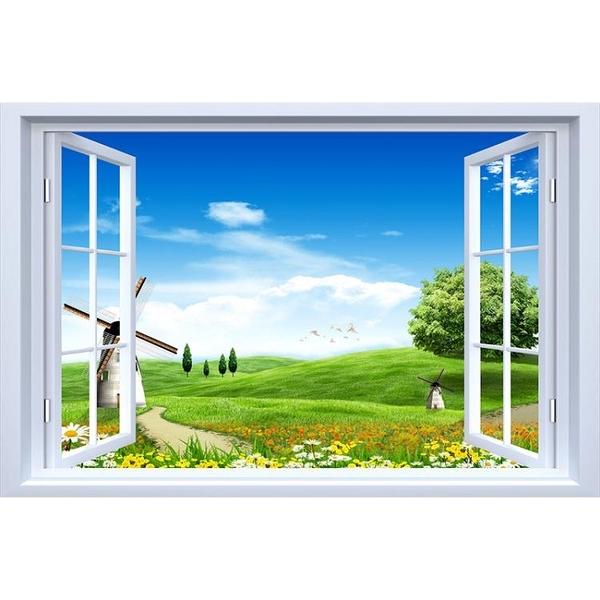 3D立體墻貼畫自粘風景假窗戶裝飾模擬大自然臥室墻面貼畫壁畫貼紙【618優惠】
