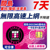 【TPHONE上網專家】 關島/塞班/羅塔/天寧島 天無限4G高速上網 一卡在手4島共用 7天