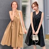 漂亮小媽咪 韓系無袖洋裝 【D6404】 純色 傘狀 無袖洋裝 孕婦 洋裝 孕婦洋裝 孕婦裝