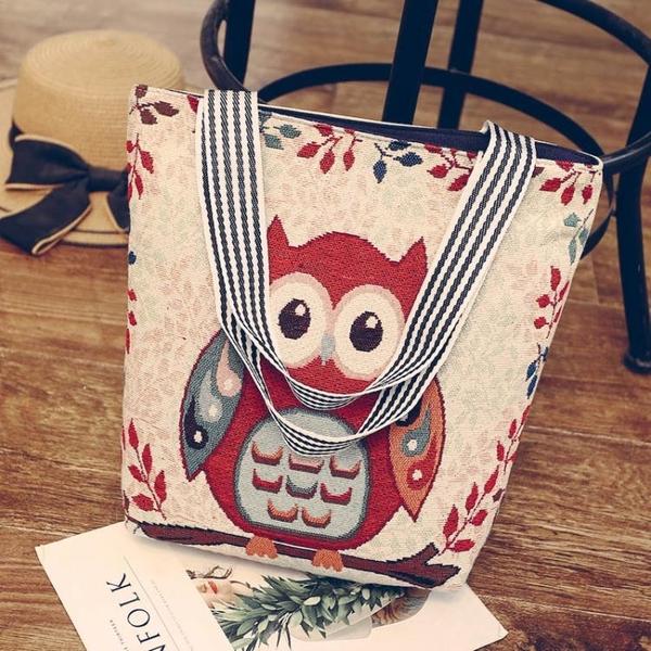 韓版新款 帆布包女單肩刺繡卡通學院風手提斜背包環保購物袋 聖誕裝飾8折