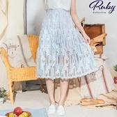 裙子 刺繡花朵綁帶鬆緊長裙-Ruby s 露比午茶