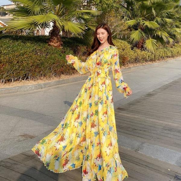 長袖洋裝 禮服 連身裙沙灘裙仙女超仙裙子海邊度假防曬長裙顯瘦碎花連身裙女NE68-A1 胖妞