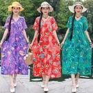 棉麻洋裝 夏季新款短袖文藝民族風復古舒適連身裙棉麻花色口袋V領長裙 韓菲兒