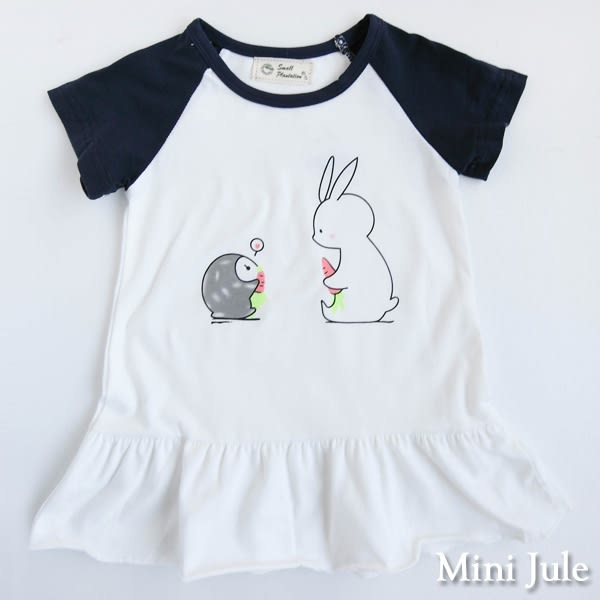 Mini Jule 女童 上衣 拼布兔子盪鞦韆/企鵝兔子/長頸鹿小鳥格紋下擺長版上衣(共3款) Azio Kids