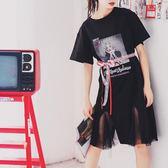 連身裙女夏過膝中長款韓版原宿學院風寬鬆潮