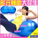 台製53cm雙弧面花生球抗力球瑜珈球韻律球彈力球健身彼拉提斯球復健球體操球大球操另售瑜珈墊