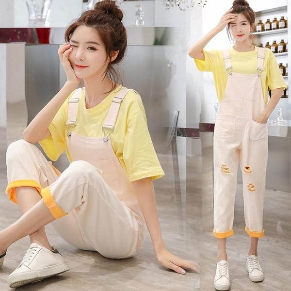 吊帶褲 夏季新款韓版小個子可愛減齡牛仔吊帶褲套裝女寬鬆顯瘦學生吊帶褲