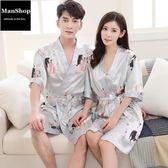 性感薄款冰絲綢情侶睡袍日式和服 潮男街【ManShop】