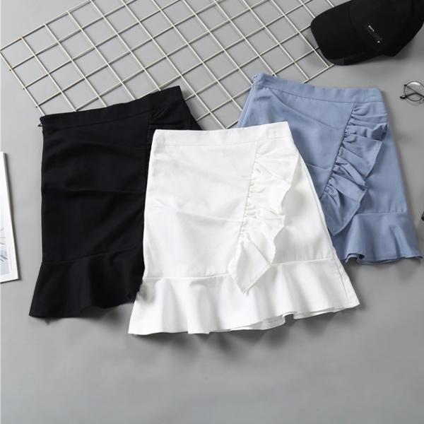 魚尾裙 夏季正韓高腰顯瘦包臀a字褶皺荷葉邊魚尾裙白色半身短褲裙子-Ballet朵朵