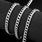 《 QBOX 》FASHION 飾品【QBN1030】精緻個性厚粗斜角折面環扣鈦鋼項鍊/鋼鍊條(0.6cm)