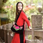 手提包包中年女包民族風繡花刺繡帆布包斜背包小包單肩包 可可鞋櫃