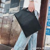 原創設計 潮男街頭編織手包 時尚手工編制手拿包單肩包潮 美斯特精品