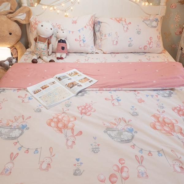 樂園氣球兔 S1單人床包二件組 100%精梳棉 台灣製 棉床本舖