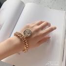手錬 歐美誇張人像吊牌手錬法式港風高級感女士復古粗錬條手飾bracelet