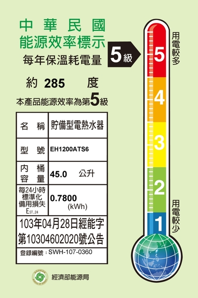 【SAKURA櫻花】12加侖儲熱式電熱水器 EH1200ATS6