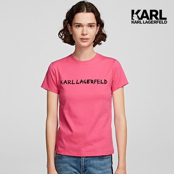 【KARL LAGERFELD】塗鴉LOGOT恤-桃紅