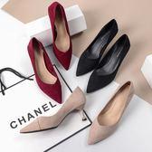 酒紅色高跟鞋女細跟2019秋季新款黑色絨面尖頭中跟5cm貓跟女單鞋