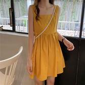 吊帶裙 2019新款夏季寬鬆顯瘦吊帶法式連衣裙仙女超仙甜美無袖裙子小個子