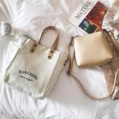 MG 帆布包-韓國大容量簡約子母手提包新款文藝帆布包女包單肩斜挎大包包