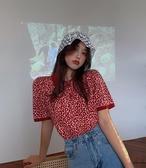 夏季針織短袖T恤寬鬆polo領紅色上衣女裝【時尚大衣櫥】