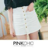 短裙 雙口袋微高腰排扣牛仔丹寧短裙 - PINK CHIC - 23818